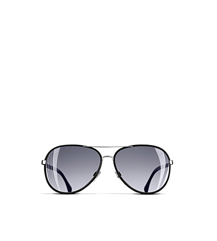 CHANEL Pilot sunglasses (Black+and+silver