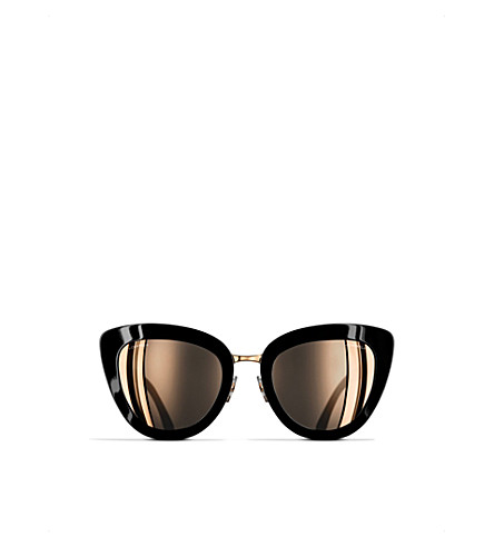CHANEL Cat-eye sunglasses (Black+and+pink+gold
