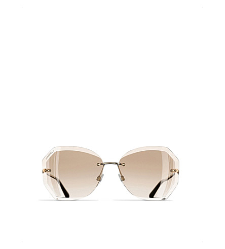 CHANEL Round sunglasses (Gold+and+beige