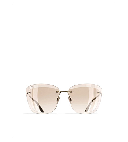CHANEL Butterfly sunglasses (Gold+and+beige