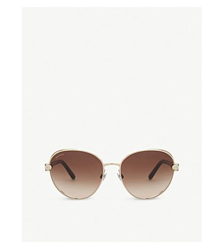BVLGARI Bv6087 round-frame sunglasses (Pale+gold