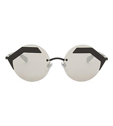 BVLGARI Bv6089 round-frame sunglasses (Matte+black/gold