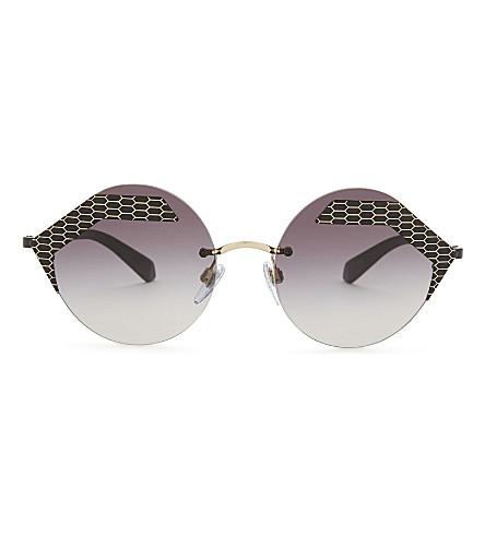 BVLGARI Bv6089 round-frame sunglasses (Black/matte+black