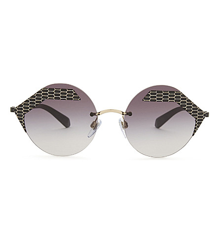BVLGARI Bv6089 圆形框架太阳镜 (黑色/哑光 + 黑色