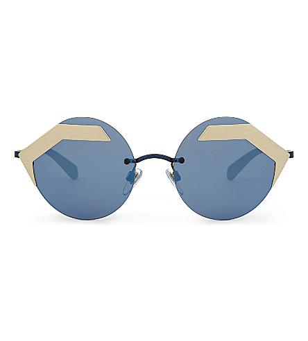 BVLGARI Bv6089 圆形框架太阳镜 (蓝色/金色
