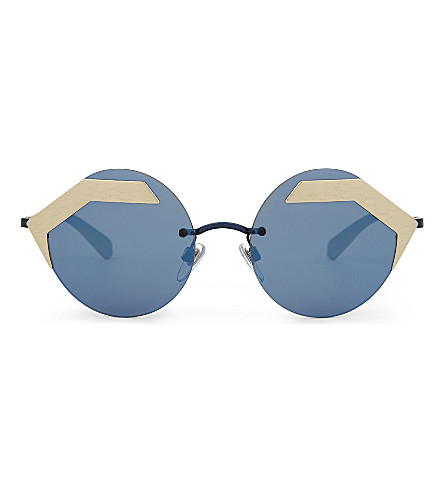 BVLGARI Bv6089 round-frame sunglasses (Blue/gold