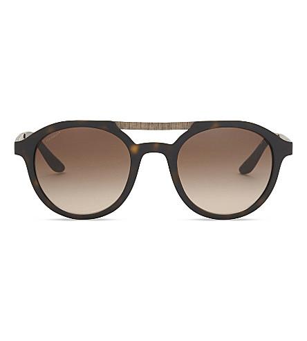 GIORGIO ARMANI Ar8095 round-frame sunglasses (Matte+havana