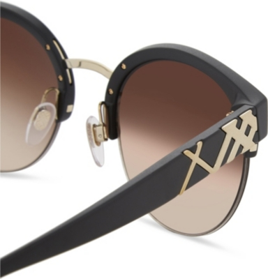 BURBERRY Be4241 Check-Detail Round Half-Frame Sunglasses ...
