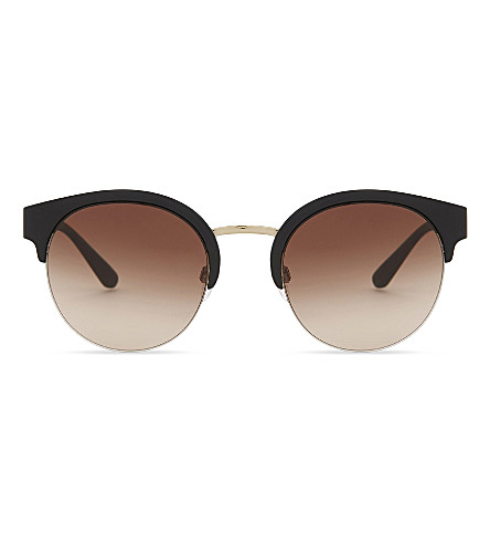 BURBERRY Be4241 check-detail round half-frame sunglasses (Pale+gold