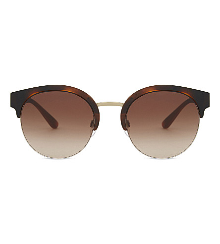 BURBERRY BE4241 check round half-frame sunglasses (Pale gold