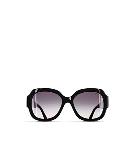 CHANEL Square sunglasses (Black+and+silver
