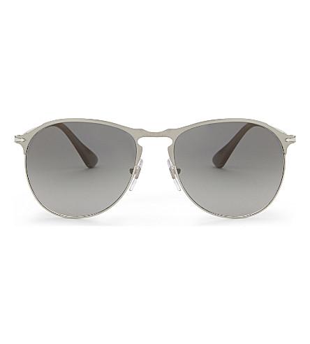 PERSOL PO7649s round-frame pilot sunglasses (Matte+silver