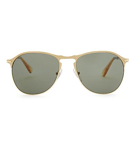 PERSOL PO7649S pilot-frame sunglasses (Matte+gold