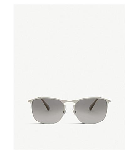 PERSOL PO7359s round-frame pilot sunglasses (Matte+silver