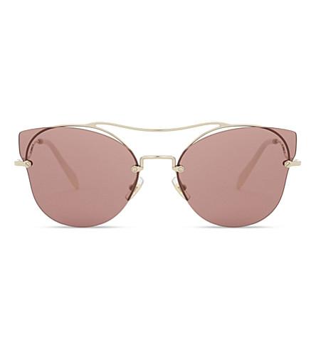 MIU MIU MU52Ss Butterfly frame half-rim sunglasses (Pale+gold
