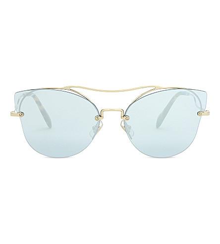 MIU MIU Mu52ss Scenique cat eye-frame sunglasses (Pale+gold