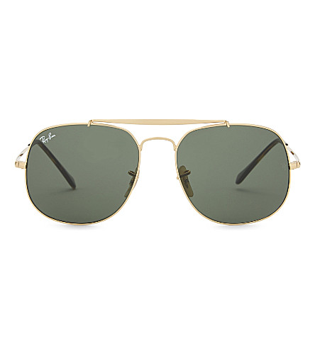 RAY-BAN Rb3561 General square-frame sunglasses (Gold