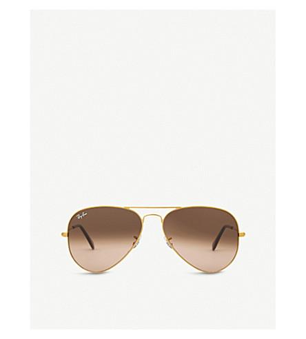 RAY-BAN Rb3025 aviator-frame sunglasses (Shiny+bronze