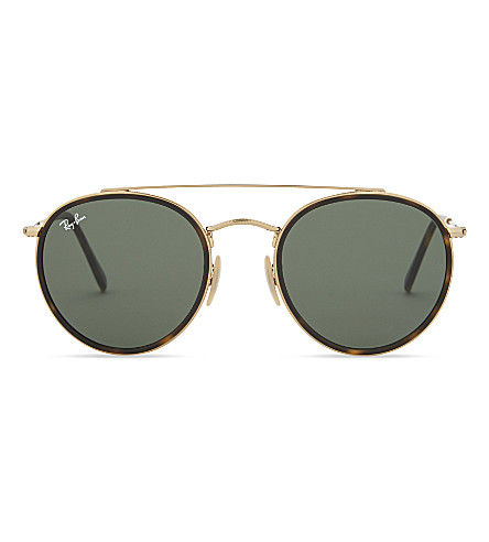 RAY-BAN Rb3647 round-frame sunglasses (Gold