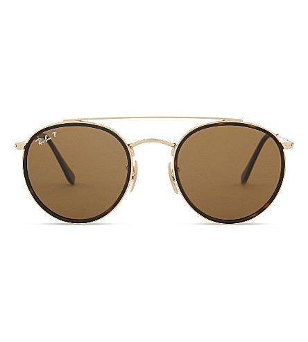 RAY-BAN RB3647N polarised round-frame sunglasses (Gold