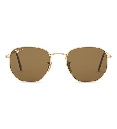 RAY-BAN Rb3548N hexagonal sunglasses (Gold