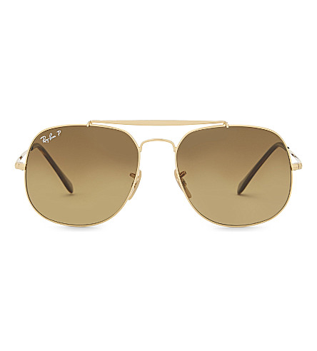 RAY-BAN Rb3561 General square-frame sunglasses (Shiny+gold