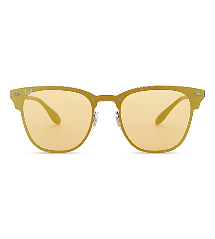 RAY-BAN Blaze Clubmaster RB3576N square sunglasses (Gold+blue