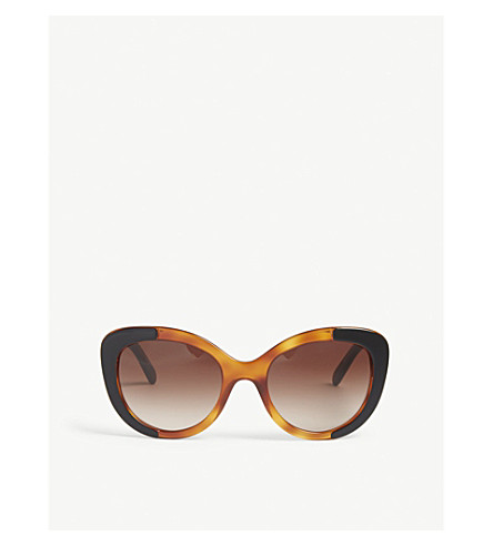 BURBERRY Be4253 round-frame sunglasses (Top+black+on+amber
