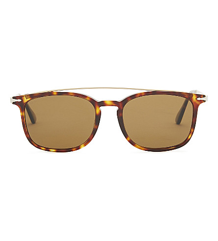 PERSOL PO3173s rectangle-frame sunglasses (Havana