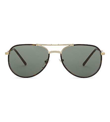 BURBERRY BE3091 pilot-frame fold up sunglasses (Havana