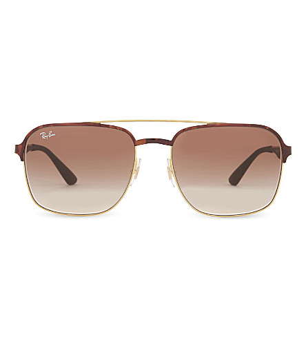 RAY-BAN Rb3570 square-frame sunglasses (Gold