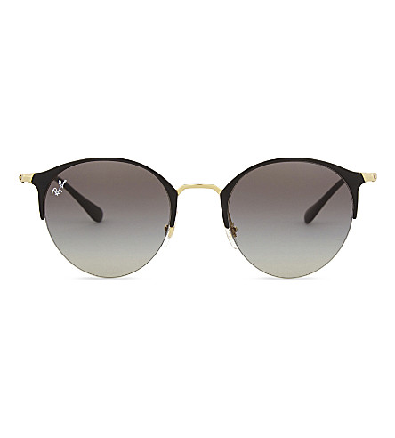 RAY-BAN Rb3578 phantos round-frame sunglasses (Shiny+black