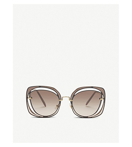 MIU MIU Mu54s square-frame sunglasses (Brown