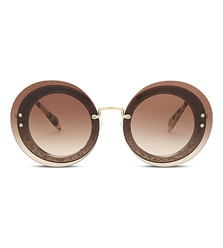 MIU MIU Mu10r Reveal round-frame sunglasses (Transparent+grey