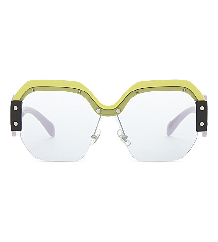MIU MIU Mu09s hexagon-frame sunglasses (Yellow