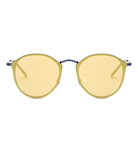 RAY-BAN Rb3574 圆形框架太阳镜 (蓝色