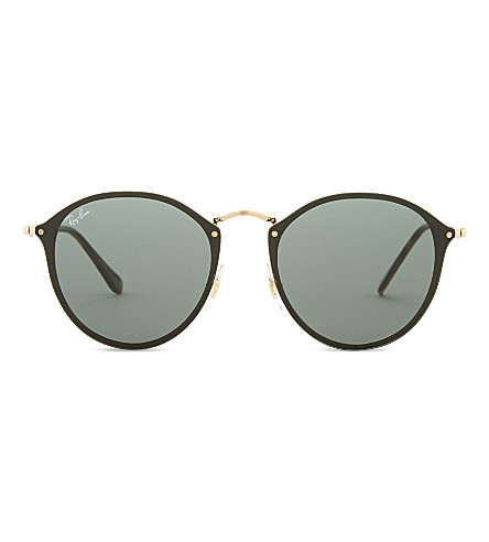 RAY-BAN Rb3574n Blaze round-frame sunglasses (Gold