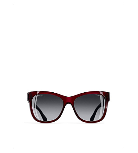 CHANEL Square sunglasses (Transparent+bordeaux