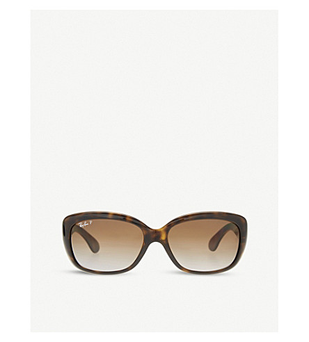 RAY-BAN Jackie Ohh RB4101 rectangle-frame polarised sunglasses (Light+havana