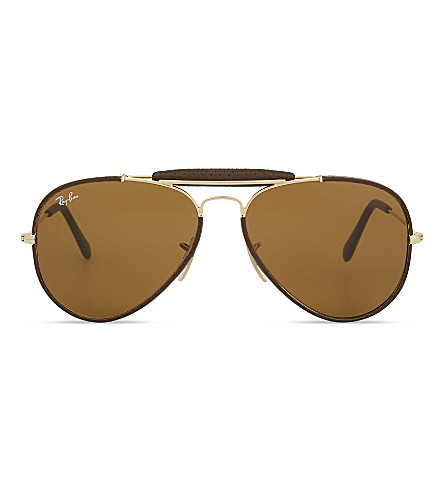 RAY-BAN Rb3422 aviator sunglasses (Leather+brown