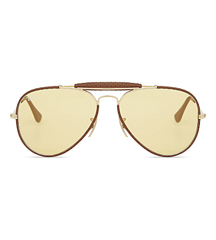 RAY-BAN Rb3422 aviator sunglasses (Leather+light+brown