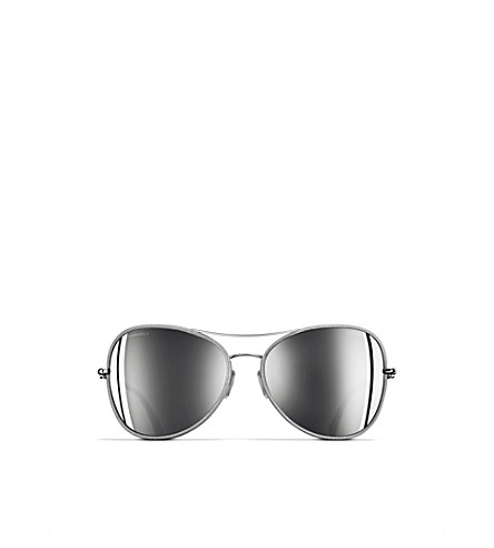 CHANEL Pilot aviator sunglasses (Silver