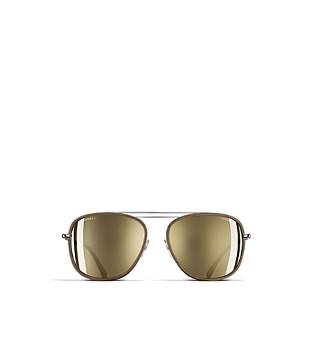 CHANEL Rectangle-frame sunglasses (Rock+taupe