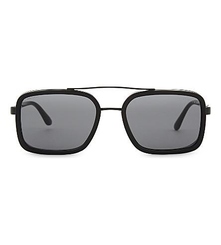 EMPORIO ARMANI 0AR6063 矩形框架太阳镜 (黑色