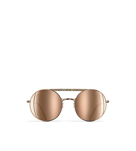 CHANEL Round sunglasses (Antique+gold