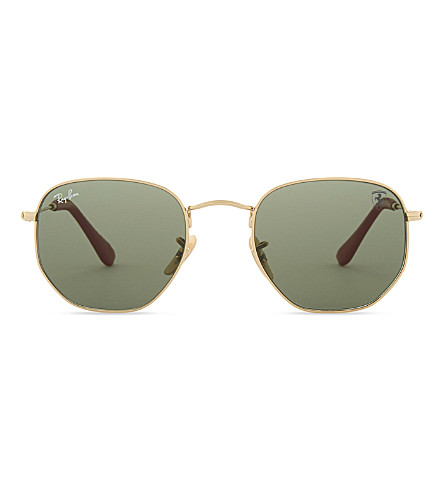 RAY-BAN Rb3548 hexagon-frame sunglasses (Gold