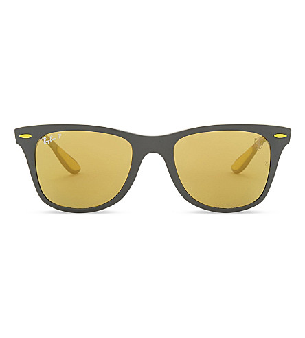 RAY-BAN Rb4195 square-frame mirror lens sunglasses (Matte+grey