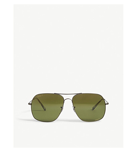 RAY-BAN Rb3587 Chromance square-frame sunglasses (Gunmetal