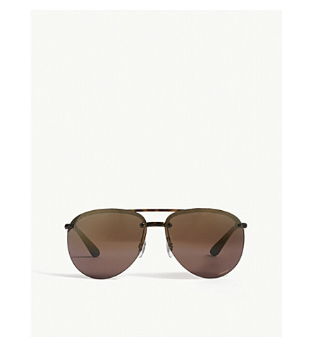 RAY-BAN Rb4293 Chromance aviator-frame sunglasses (Havana