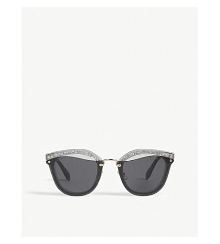 MIU MIU Mu03Ts irregular round-frame sunglasses (Grey
